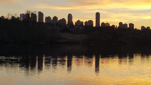 Panoramic, Sunset, Water, Dawn, Reflection, Skyline