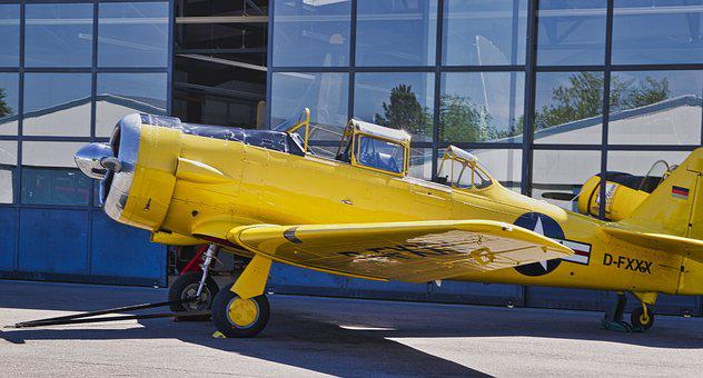 Aircraft, Vehicle, Airport, Yellow, Oldtimer, Propeller