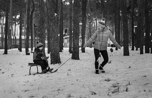Kids, Winter, People, Baby, Two, Park, Stroll