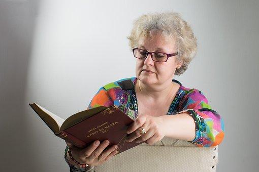 Woman, Portrait, Specs, Reader, Book, Glasses