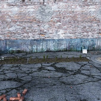 Courtyard, Wall, Brick, Old, Cement, Concrete Floor
