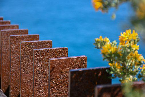 Architecture, Sea, Flowers, Bars, Contrast, Colors