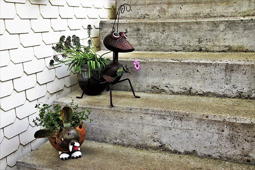 Stairs, Pot, Decorative, Gray, Decoration, Brick