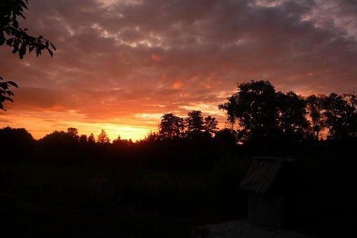 Sunset, Village, Landscape, Field, Evening, Nature