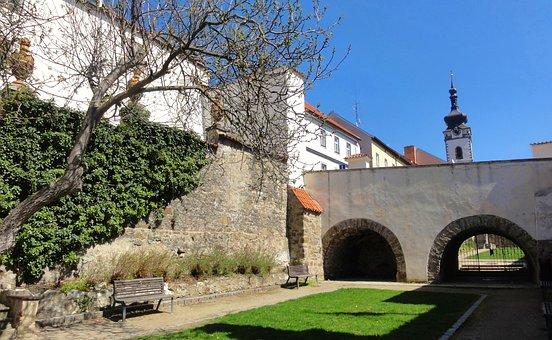 Park, Town, Czechia, Fortification, Garden