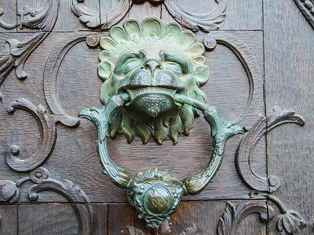 Doorknocker, Old, Door, Lion Head, Input, Goal