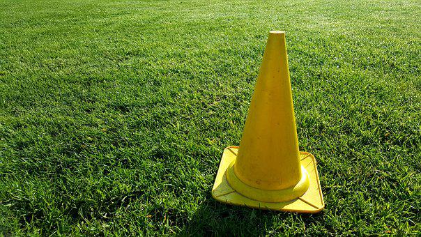 Cone, Football, Barrier, Grass, Rush, Nature, Meadow