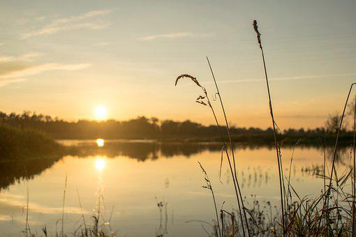 River, West, The Sun, Sunset, Landscape, Water, Nature