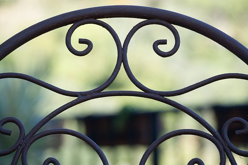 Iron, Chair, Back, Pattern, Shape, Outdoors, Frame
