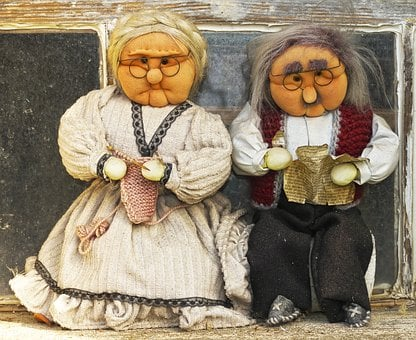 Grandma, Grandpa, Pair, Dolls, Seniors, Man, Woman