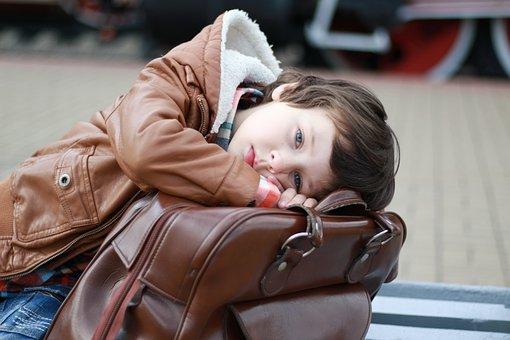 Boy, Child, Portrait, Station, Train, Bag, Jacket
