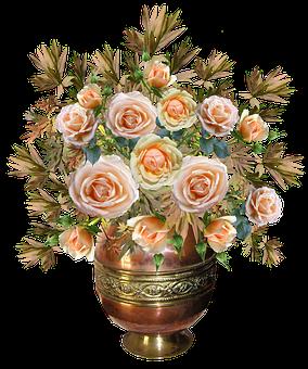 Roses, Arrangement Copper Vase, Flowers