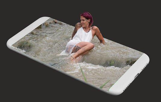 Water, Mobile Phone, Screen, Photo Editing, Mobile