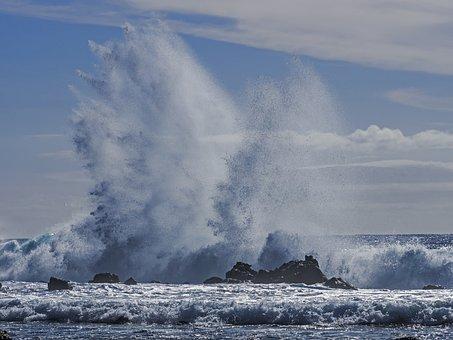 Water, Sea, Ocean, Seashore, Storm, Splash, Rocks, Wave