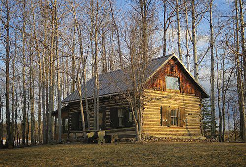Log Cabin, Architecture, Forest, Sunrise, Spring
