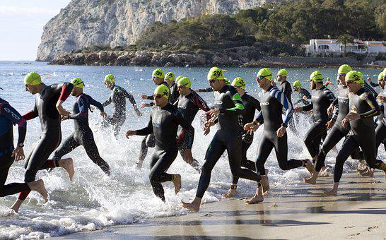 Triathlon, Swimming, Competition, Motion, Action