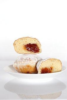 Donut, Jam, The Dough, Baking, Bun, Dessert, Sweet