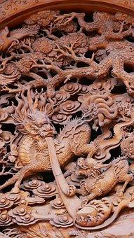 China, Dragon, Wood, Ornament, Traditionally, Travel