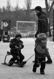 Family, Kids, Winter, People, Man, Baby, Two, Grown Up
