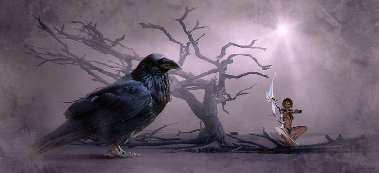 Fantasy, Crow, Tree, Arrow, Arch, Contactors, Woman