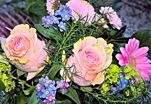 Bouquet, Spring Bouquet, Pink Roses, Blue Forget-me-not