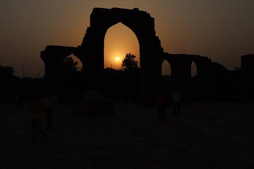 Sunset, Dawn, Dusk, Sun, Silhouette, Sky, Qutub Minar