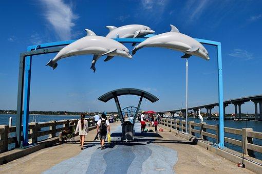 Fishing Pier, Vilano Beach, Florida, Pier, Dolphins