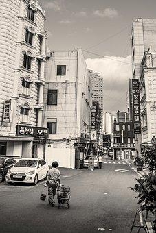 Street, People, City, Korea
