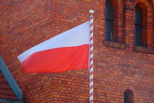 Lake Dusia, Brick, Architecture, No One, Flag Of Poland