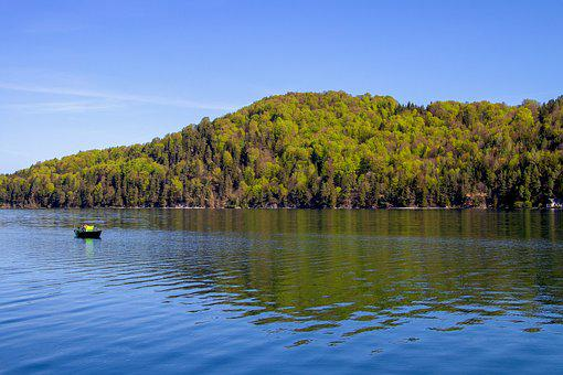 Lake, Trees, Landscape, Blue Sky, Fishing Boat