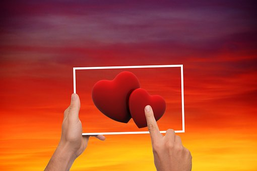 Sky, Heart, Love, Valentine's Day, Tablet, Finger