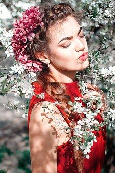 Flower, Lovely, Nature, Portrait, Woman, Wreath, People