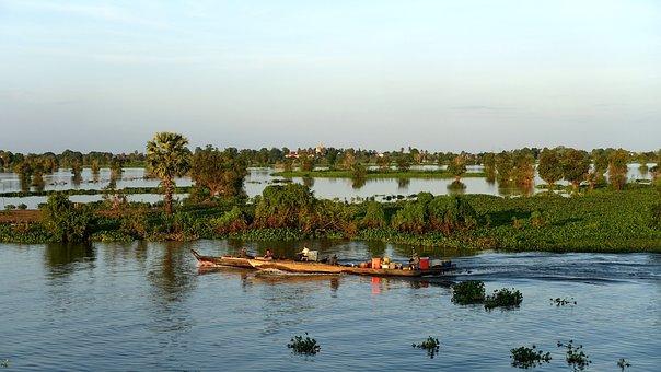 Waters, Nature, River, Reflection, Panorama, Tonle Sap