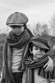 Kids, Boys, Brothers, On The Nature, Caps, Scarves