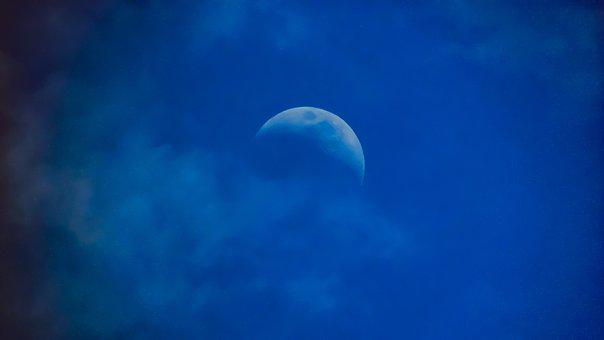 Sky, Moon, Nature, Moon Rising, Evening, Clouds