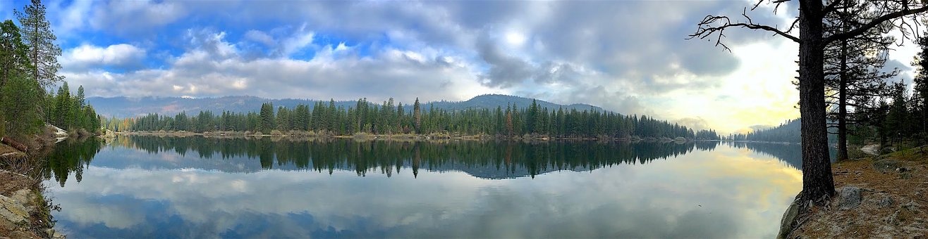 Panoramic, Lake, Water, Nature, Landscape, Sky, Clouds