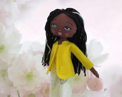 Doll, Black, Toy, African, Woman, Girl, Female, Yellow