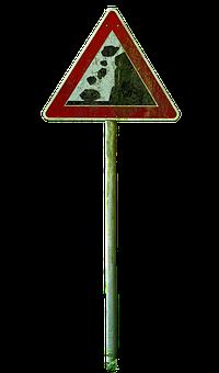 Shield, Rockfall, Warnschild, Traffic Sign, Warning