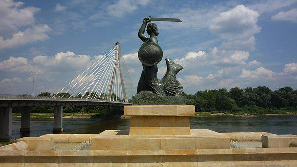 Mermaid, Cialis, Warsaw, Bridge, The Statue, Fountain