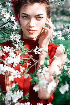 Lovely, Flower, Nature, Tree, Woman, Wreath, Portrait