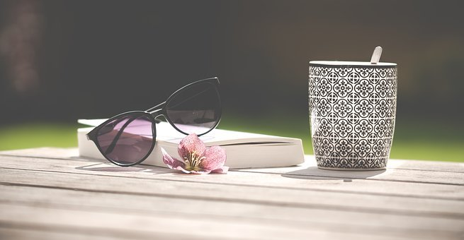 Sunglasses, Mug, Tea, Flower, Book, Read, Garden, Relax