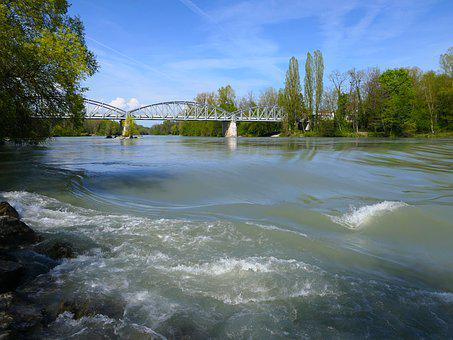 Bridge, Metal, River, Rhône, Structure, Current, Water