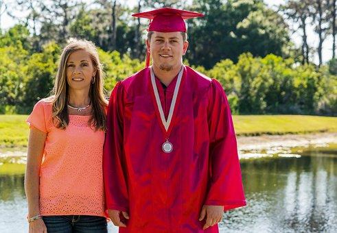 Mother Son, Cap And Gown, Graduation, Portrait