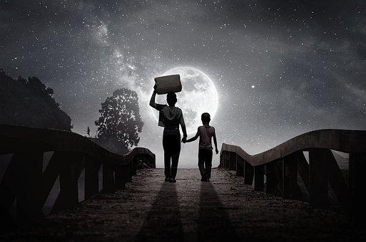 Moon, Children, Bridge, Cosmos, Universe, Astronomy