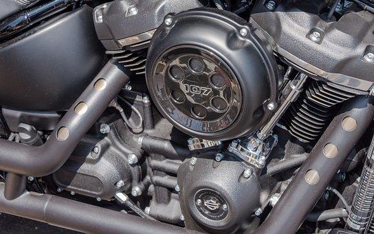 Automobile, Engine, Motorcycle, Harley, Chrome, Vehicle