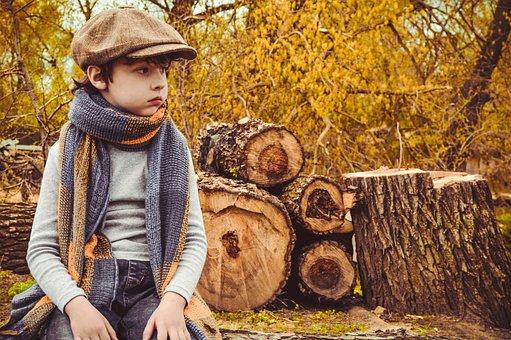 Boy, Kids, Autumn, Nature, Child, Felled Trees, Season