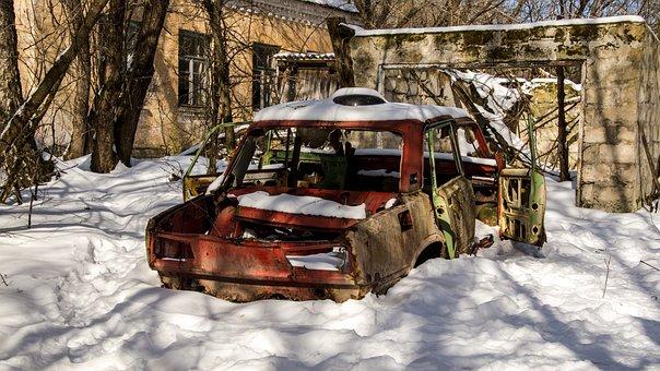 Car, Snow, Exclusion Zone, Winter, Nature, Landscape