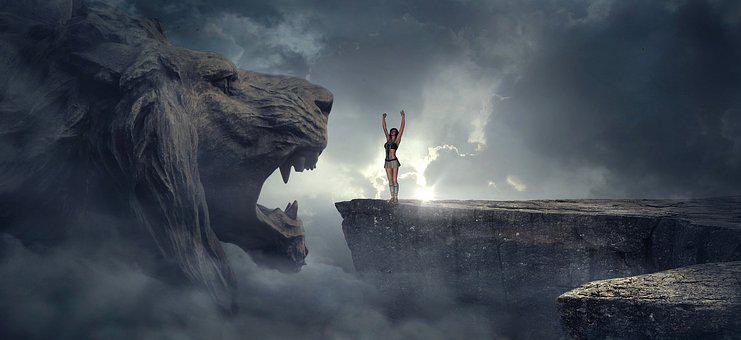 Fantasy, Rock, Lion Head, Abyss, Woman, Mystical, Sun