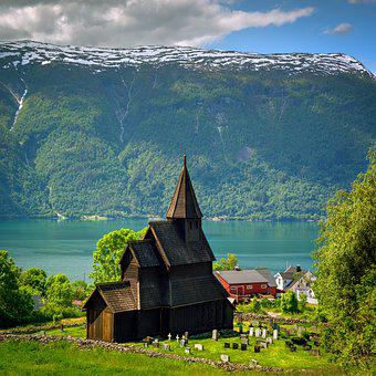 Stave Church, Fjord, Mountain, Urnes, Norway
