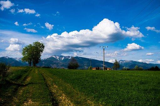 Mountains, Baranes, Clouds, Sky, Heaven, Grass, Tree